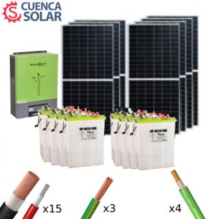 Kit Solar Aislada 5000W 48V Baterías Plomo Abierto 14000Wh/día
