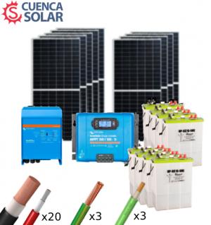 Kit Solar Aislada Victron 5000W 48V Baterías Plomo Abierto 18000Wh/día