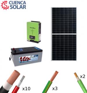 Kit Solar Aislada 1000W 12V Batería Monoblock 2000Wh/día