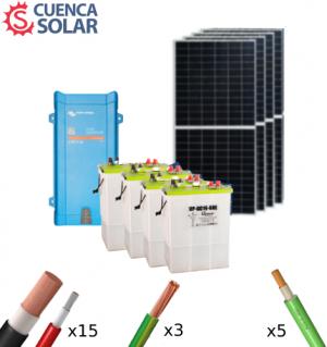 Kit Solar Aislada Victron 3000W 48V Baterías Plomo Abierto 8000Wh/día