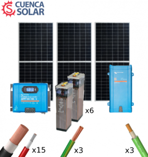 Kit Solar Aislada Victron 3000W 24V Baterías Plomo Abierto 6000Wh/día
