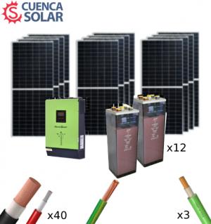 Kit Solar Aislada 5000W 48V Baterías Plomo Abierto 24000Wh/día