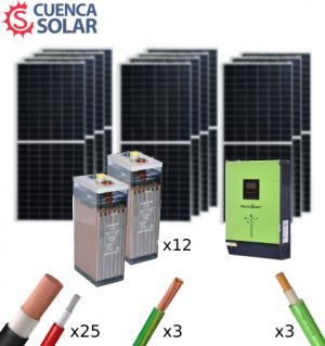 Kit Solar Aislada 5000W 48V Baterías Plomo Abierto 22000Wh/día