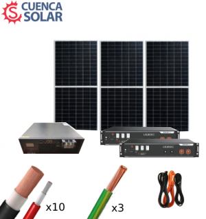Kit Solar Aislada 3000W 48V Baterías Litio 6000Wh/día