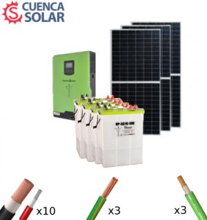 Kit Solar Aislada 3000W 24V Baterías Plomo Abierto 6000Wh/día