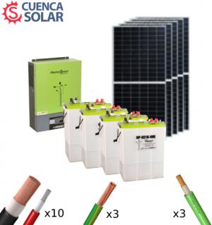 Kit Solar Aislada 3000W 24V Baterías Plomo Abierto 10000Wh/día