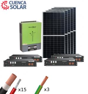Kit Solar Aislada 5000W Litio 9,6KWh-48V Paneles 10000Wh/día