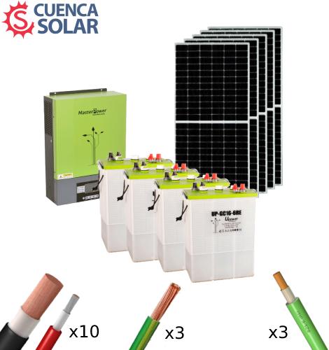 Kit Solar Aislada 3000W 24V Baterías Plomo Abierto 9000Wh/día